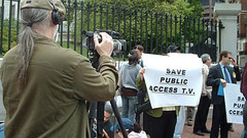 CCTV Producers at National Day of Out(R)age in Boston