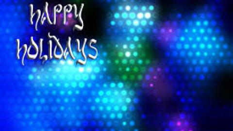 Happy Holidays image, colorful, shining balls of blue, white, green