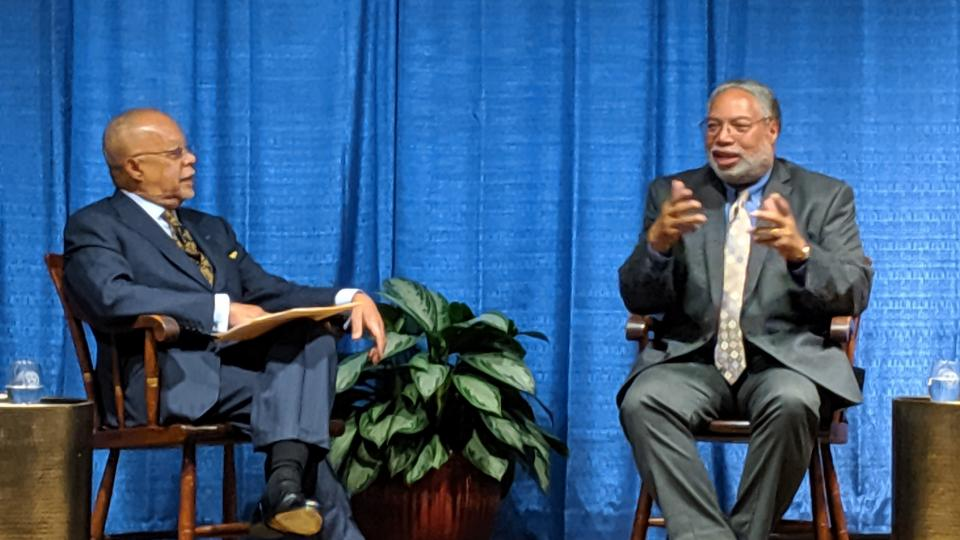 Smithsonian Institution Secretary Lonnie G. Bunch III (right) and Henry Louis Gates Jr. in conversation at Harvard's Peabody Museum on Wednesday night