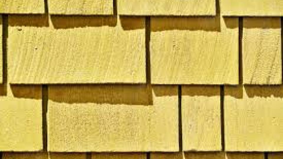 Close photo of yellow house shingles.